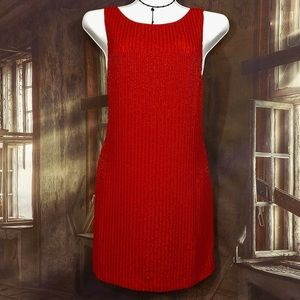 Free People mini dress red sequence beads size 8